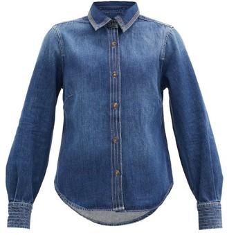 Frame Trapunto Topstitched Denim Shirt - Denim