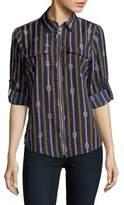 MICHAEL Michael Kors Chain Printed Front Zip Blouse