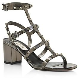 Valentino Women's Rockstud Metallic Leather Block Heel Sandals