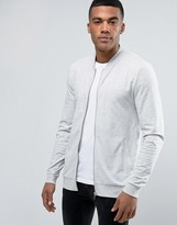 Asos Muscle Fit Jersey Bomber Jacket In Gray Marl
