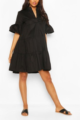 boohoo Maternity Tiered Cotton Smock Dress