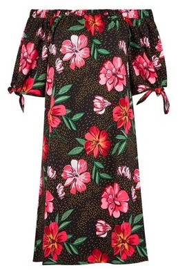 Dorothy Perkins Womens Tall Black Floral Print Bardot Dress, Black