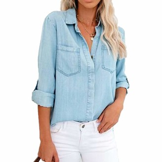 Cogoto Womens Denim Shirt Pocket Long Sleeve V Neck Tee Casual Popular Blouse Tops Soft and Breathable Blue