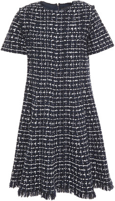 Oscar de la Renta Pleated Fringed Tweed Mini Dress