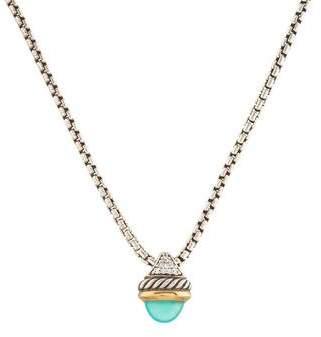 David Yurman Dyed Chalcedony & Diamond Acorn Pendant Necklace