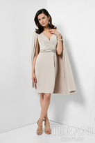 Terani Evening - Chic V-Neck Short Wrap Dress With Cape 1711C3012