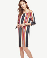 Ann Taylor Petite Striped Off The Shoulder Dress