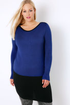 Yours Clothing Cobalt Blue & Black Colour Block Longline Jumper With Silver Shoulder Zips