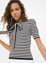 Michael Kors Striped Cashmere Puff-Sleeve Bow Sweater