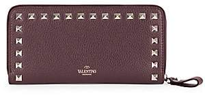 Valentino Women's Garavani Rockstud Leather Zip Around Continental Wallet