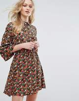 Influence Collared Flared Sleeve Dress In Floral Print