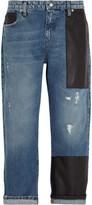 McQ by Alexander McQueen Faux leather-trimmed boyfriend jeans
