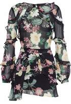 Nicholas Ruffled Floral-Print Silk-Chiffon Playsuit