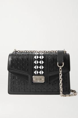 SERAPIAN Diamante Woven Leather Shoulder Bag - Black