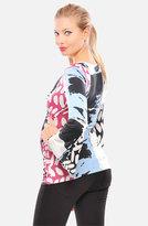 Olian Print Crossover Maternity Top