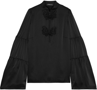 Andrew Gn Gathered Embroidered Silk-satin Blouse