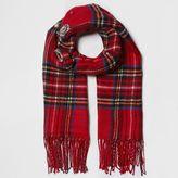 River Island Womens Red tartan check brooch embellished scarf