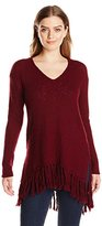 Karen Kane Women's Fringe V-Neck Sweater