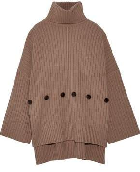 Joseph Button-detailed Ribbed Wool Turtleneck Sweater