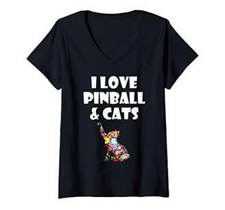 Womens Pinball Game Kitty Cat Gift I Love Pinball & Cats V-Neck T-Shirt