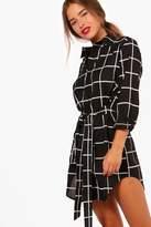 boohoo Petite Cindy Tie Waist Checked Shirt Dress