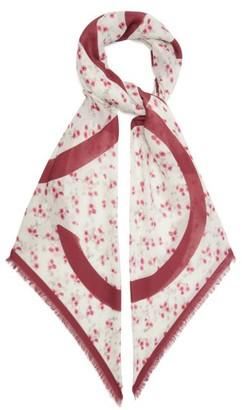 Loewe Anagram Floral-print Modal-blend Scarf - Red