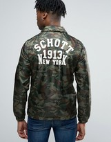 Schott Camo Coach Jacket Back Logo In Green