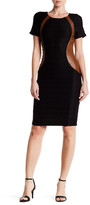 NUE by Shani Contrast Faux Leather Panel Dress