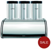 Brabantia Roll Top Bread Bin And Tea, Coffee, Sugar Canister Set
