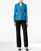 Le Suit Colorblocked Tweed Pantsuit