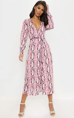 PrettyLittleThing Pink Snake Print Belted Midi Dress
