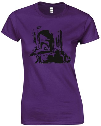 JLB Print Boba Fett Silhouette Sci Fi Movie Film Inspired Premium Quality Fitted T-Shirt Top for Women and Teens Purple