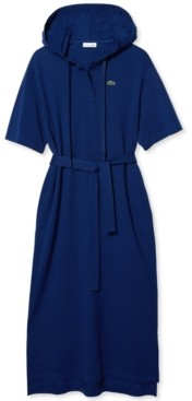 Lacoste Cotton Hooded Shirtdress