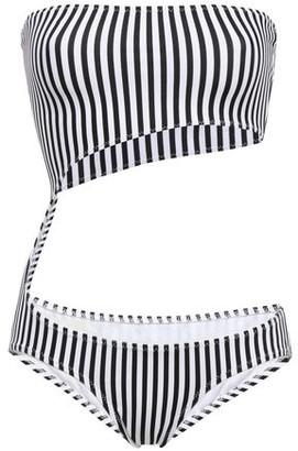 Norma Kamali Strapless Cutout Striped Swimsuit