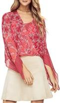 BCBGMAXAZRIA Batik Print Wrap Blouse