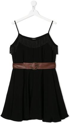 MonnaLisa TEEN belted fringed mini dress