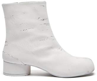 Maison Margiela Tabi Split Toe Painted Leather Ankle Boots - Womens - White