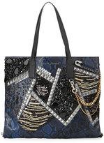 Marc Jacobs Wingman Snake-Embossed Tote Bag, Cobalt/Multi