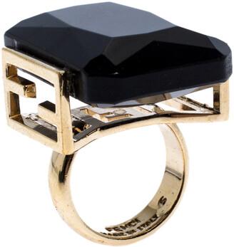 Fendi Black Crystal Embedded Gold Tone Cocktail Ring Size EU 47