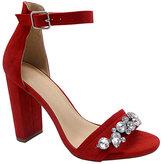 Wild Diva Red Embellished-Strap Morris Sandal