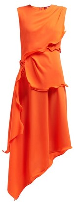 Sies Marjan Helena Ruffled Crepe Midi Dress - Orange