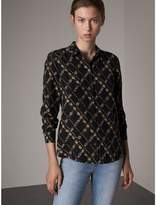 Burberry Lattice Floral Print Silk Shirt