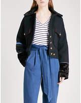 Free People Faux-fur-detail wool-blend jacket