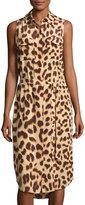 Equipment Tegan Cheetah-Print Belted Sleeveless Shirtdress, Cheetah