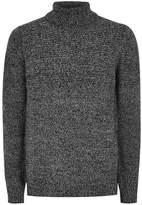 Topman Gray Salt And Pepper Twist Turtle Neck Sweater