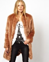 Asos Longline Lux Faux Fur Coat - Beige
