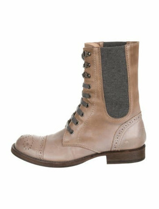 Brunello Cucinelli Brogue Leather Combat Boots grey