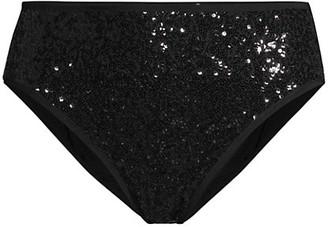 Norma Kamali Sequin High-Waist Bikini Bottom