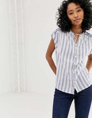 Pepe Jeans Tilda stripe sleeveless shirt-Blue