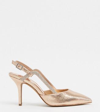 ASOS DESIGN Wide Fit Watkin embellished slingback mid-heeled shoes in rose gold
